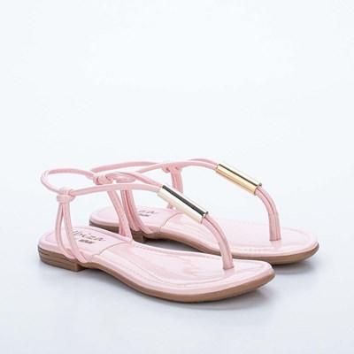 Sandália Infantil Flat com Detalhe de Metal Rosa Nude