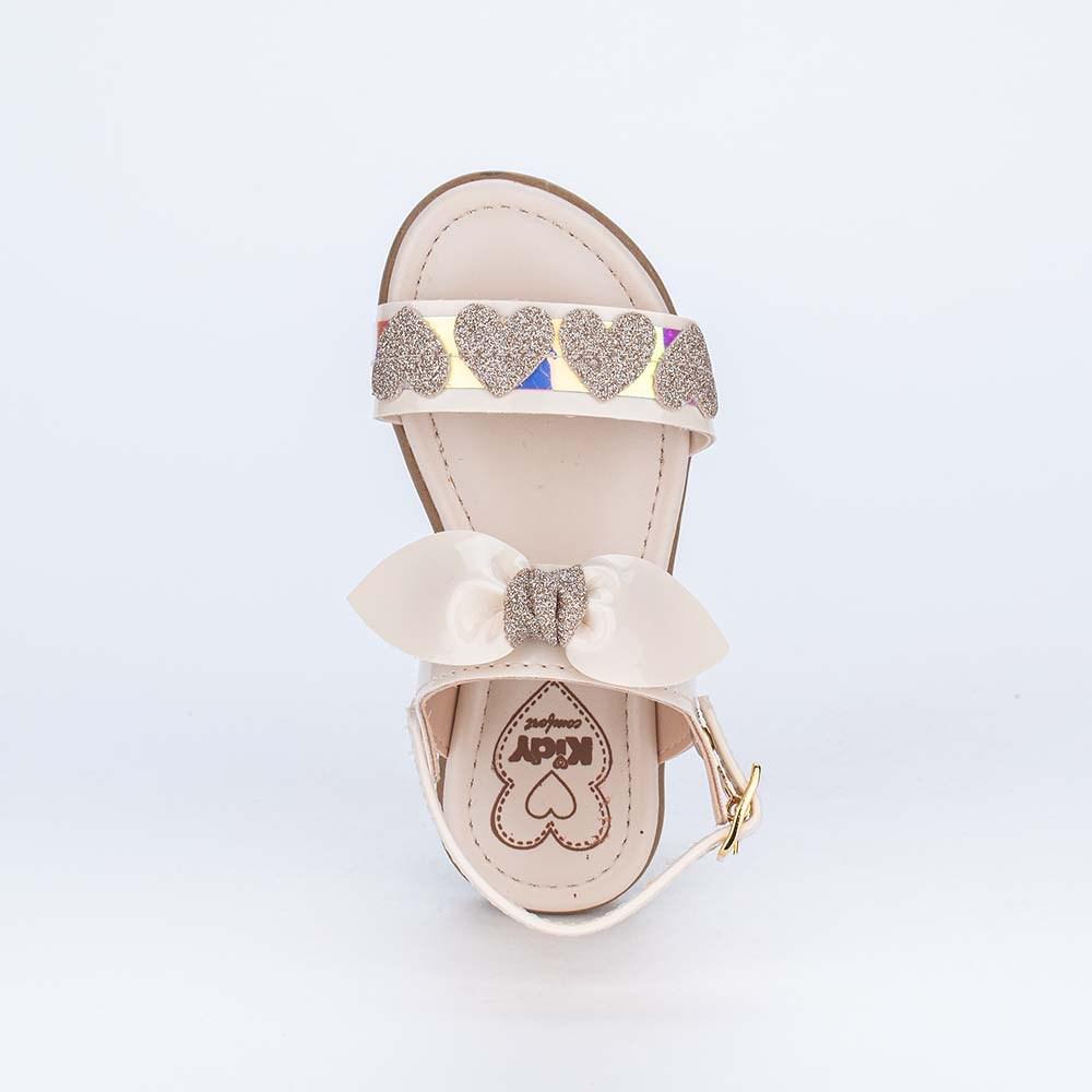 Sandália Infantil Holográfica com Corações de Glitter Marfim