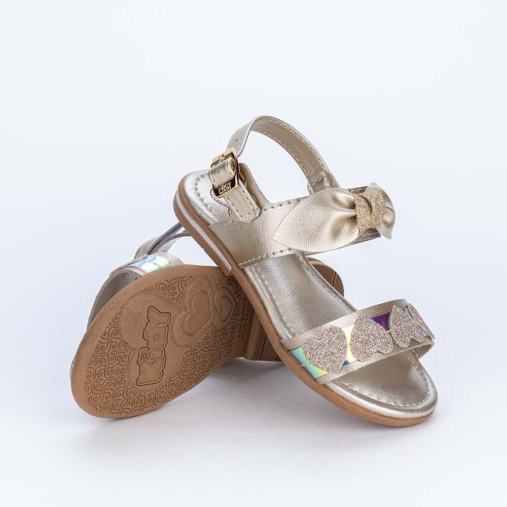 Sandália Infantil Holográfica com Corações de Glitter Ouro
