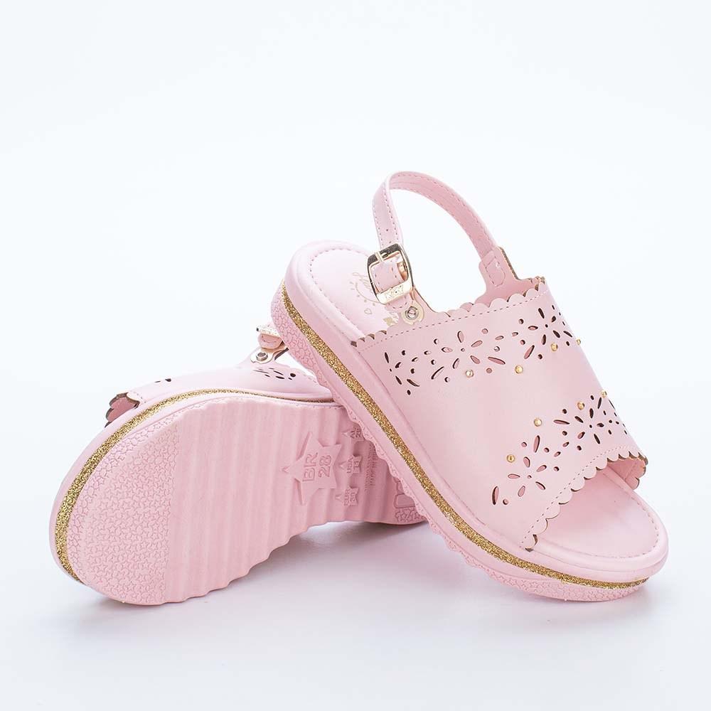 Sandália Infantil Kidy Anabela Nude com Detalhe em Glitter