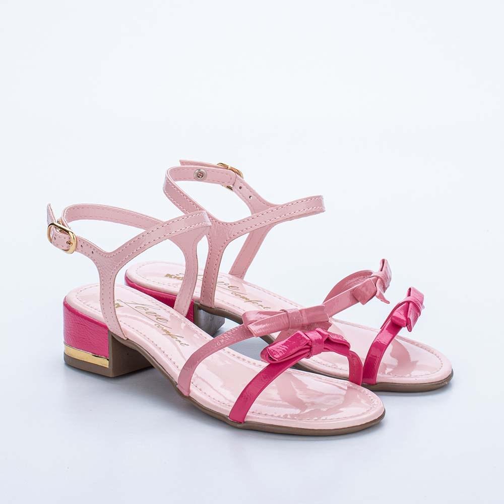 Sandália Infantil Kidy Love com Saltinho e Laços Rosa Claro e Pink