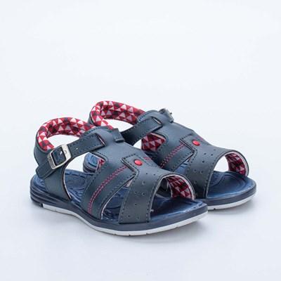 Sandália Infantil Masculina Baby Menino Equilíbrio Marinho e Vermelho
