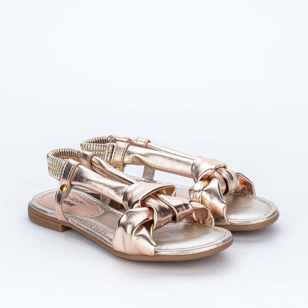 Sandália Infantil Menina Comfy Flat Ibiza Dourado Metalizado
