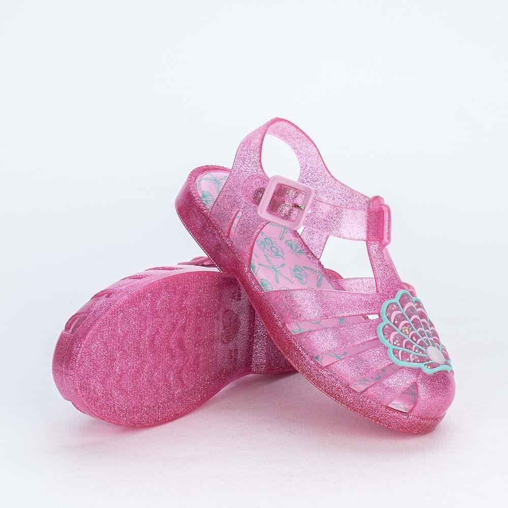 Sandália Infantil para Menina Mar e Cor Rosa com Glitter