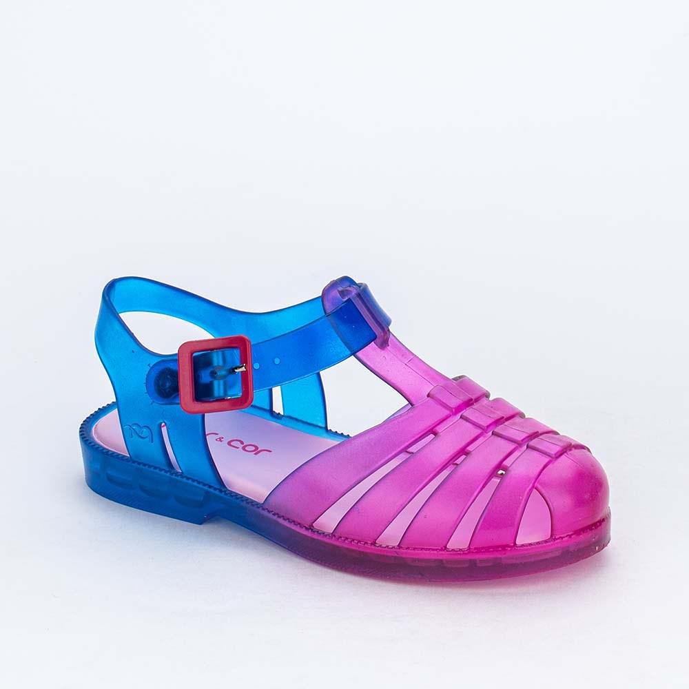 Sandália Infantil para Menina Mar e Cor Tie Dye Pink e Azul