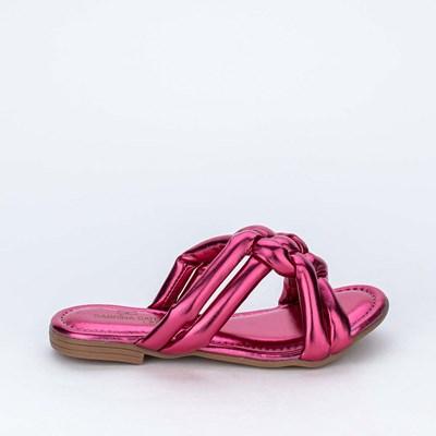 Sandália Kidy Flat Ibiza Sabrina Sato Pink Metalizado