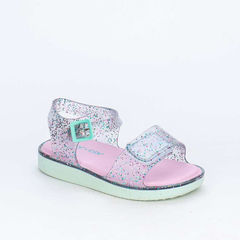 Sandália Papete Baby para Meninas Mar e Cor Glitter Colorido