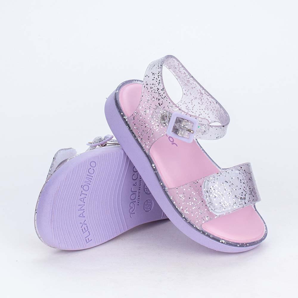 Sandália Papete Baby para Meninas Mar e Cor Glitter Prata