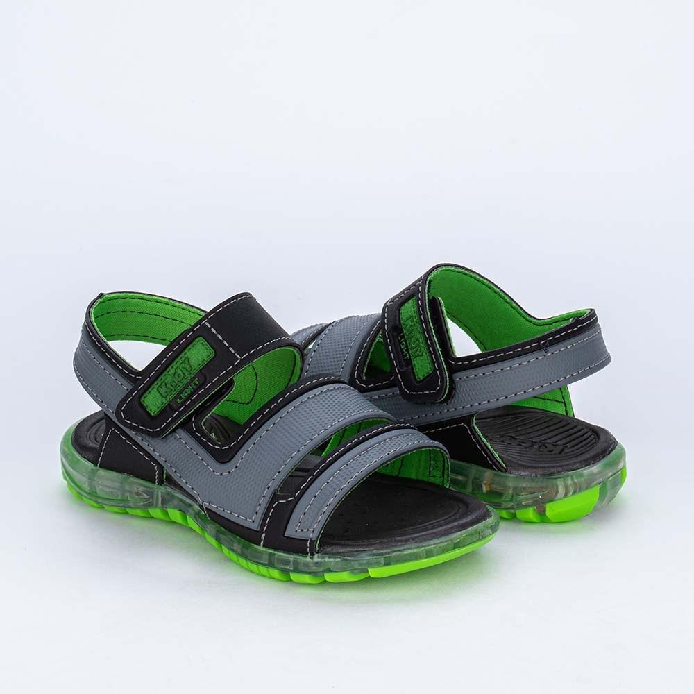 Sandália Papete de Led Infantil Kidy Light Cinza Verde Neon