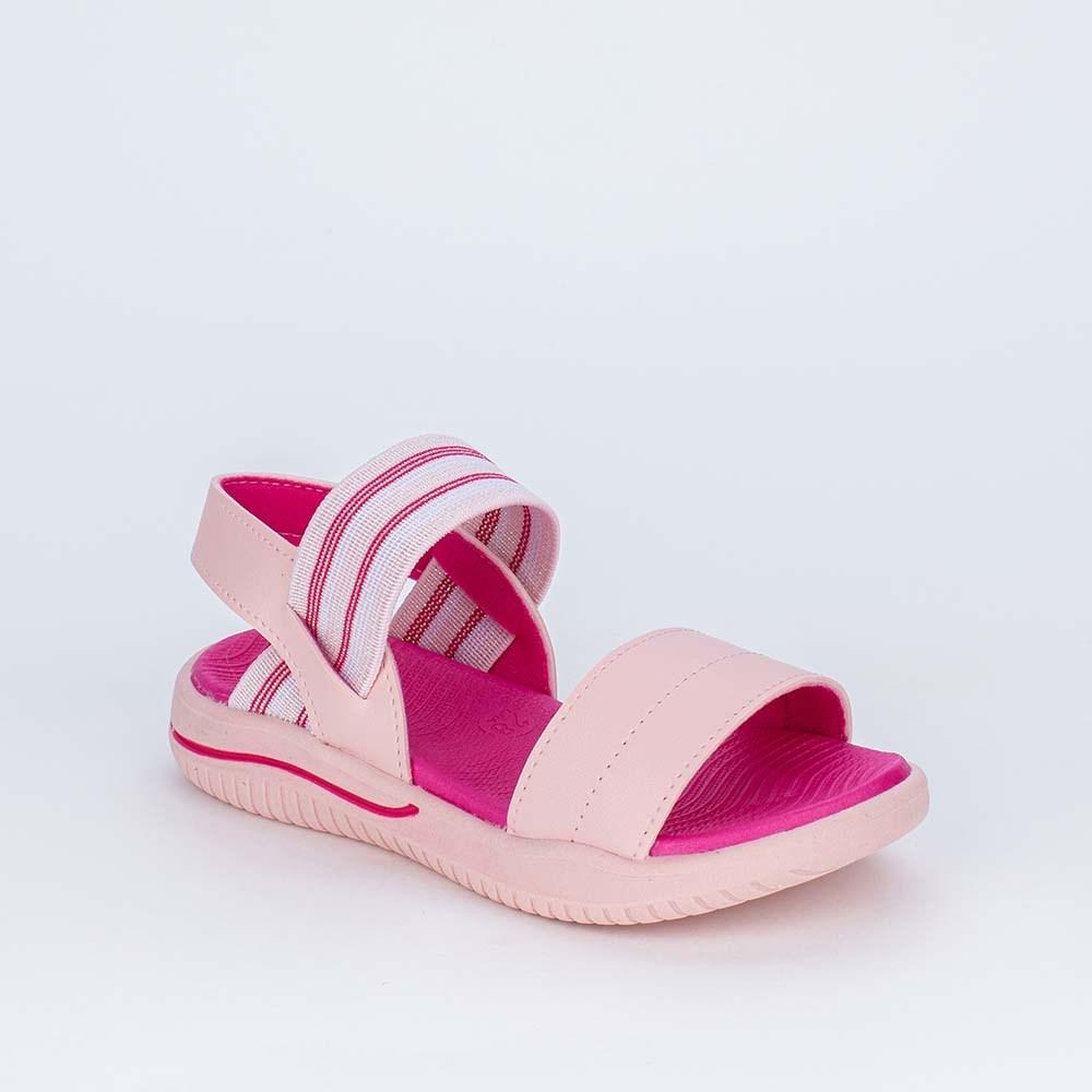 Sandália Papete Infantil Fly Ultra Leve Elástico Rosa Nude