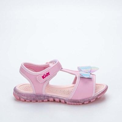 Sandália Papete Infantil Kidy Gloss Rosa com Lacinho Azul