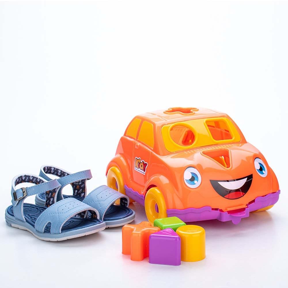 Sandália para Bebê Kidy Baby Azul com Brinquedo Interativo