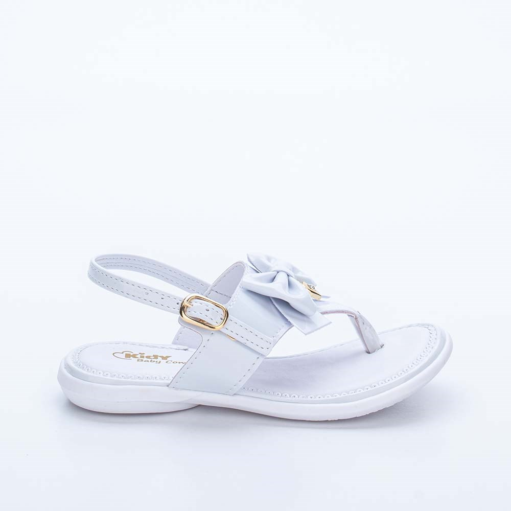 Sandália para Bebê Menina Baby Equilíbrio Branca com Laço