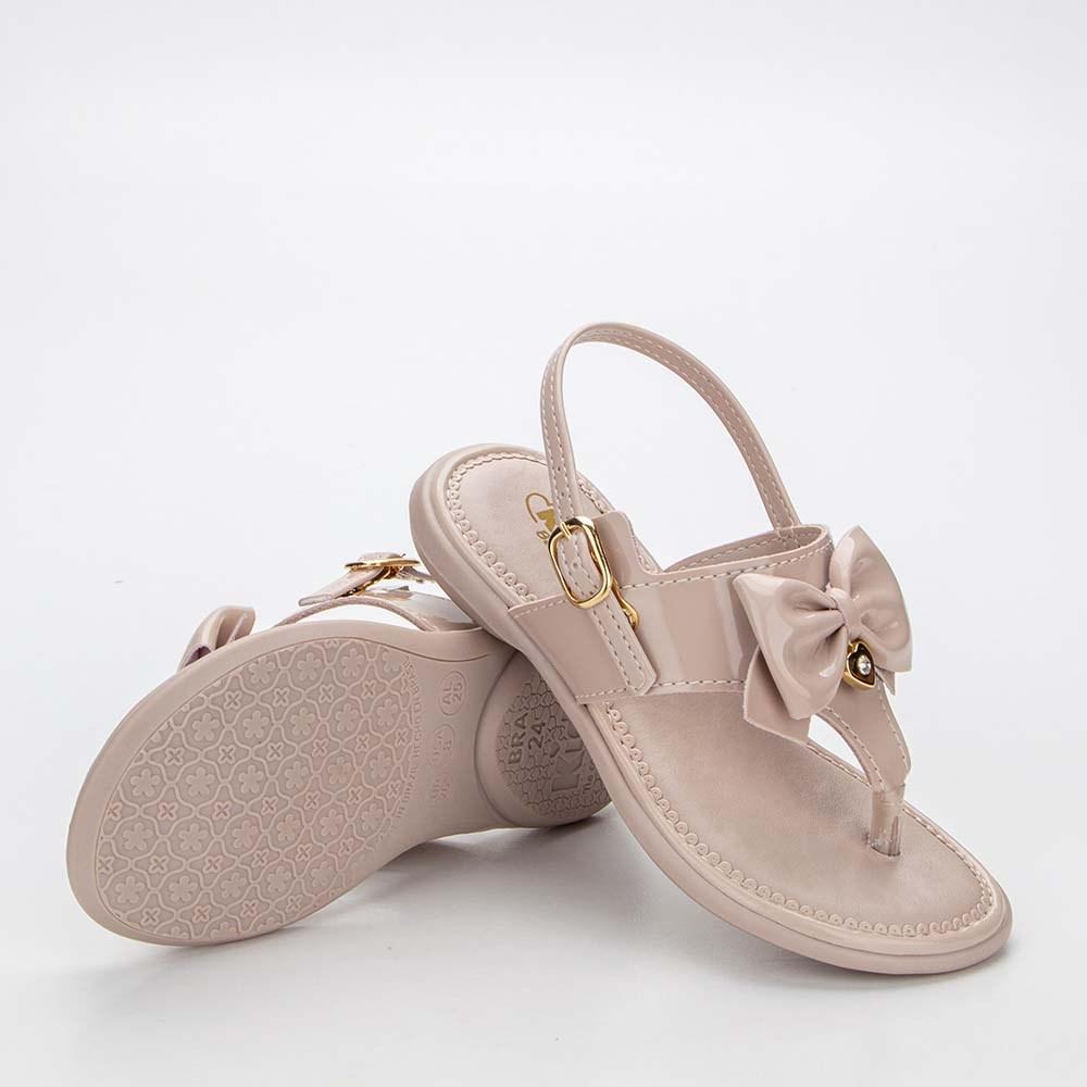 Sandália para Bebê Menina Baby Equilíbrio Pérola com Laço