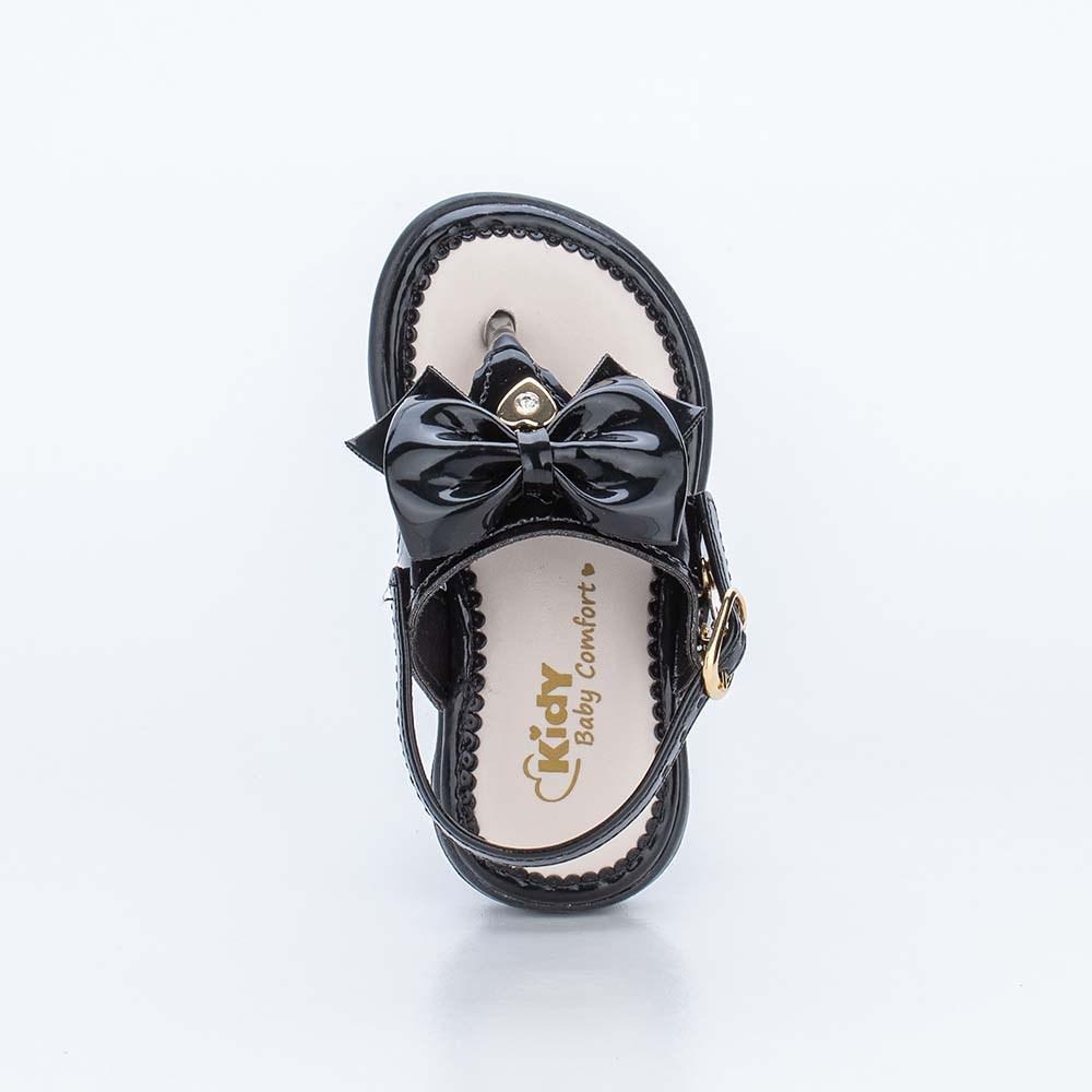 Sandália para Bebê Menina Baby Equilíbrio Preta com Laço