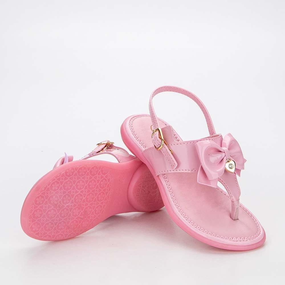 Sandália para Bebê Menina Baby Equilíbrio Rosa com Laço