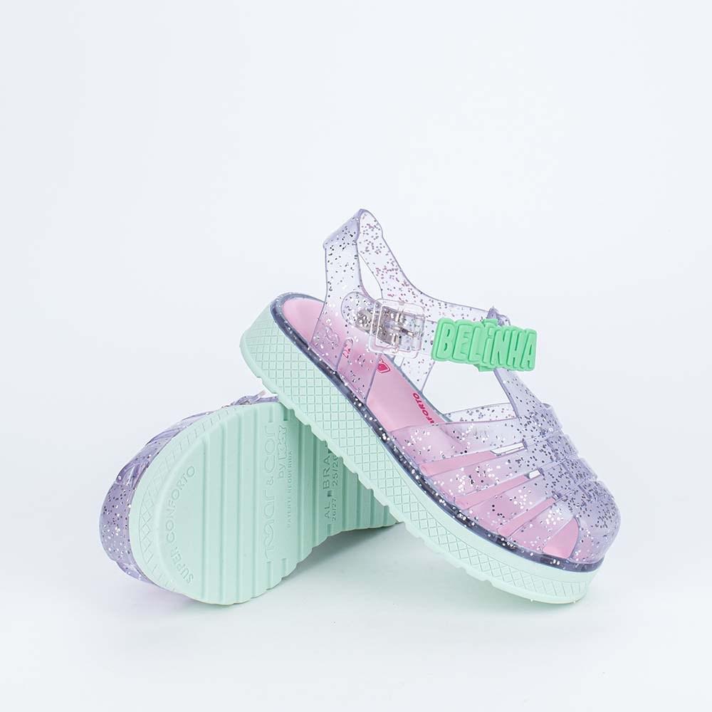 Sandália para Bebê Menina Equilíbrio com Laço de Brilho Nude