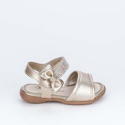 Sandália para Bebê Menina Equilíbrio Ouro Feche de Laço