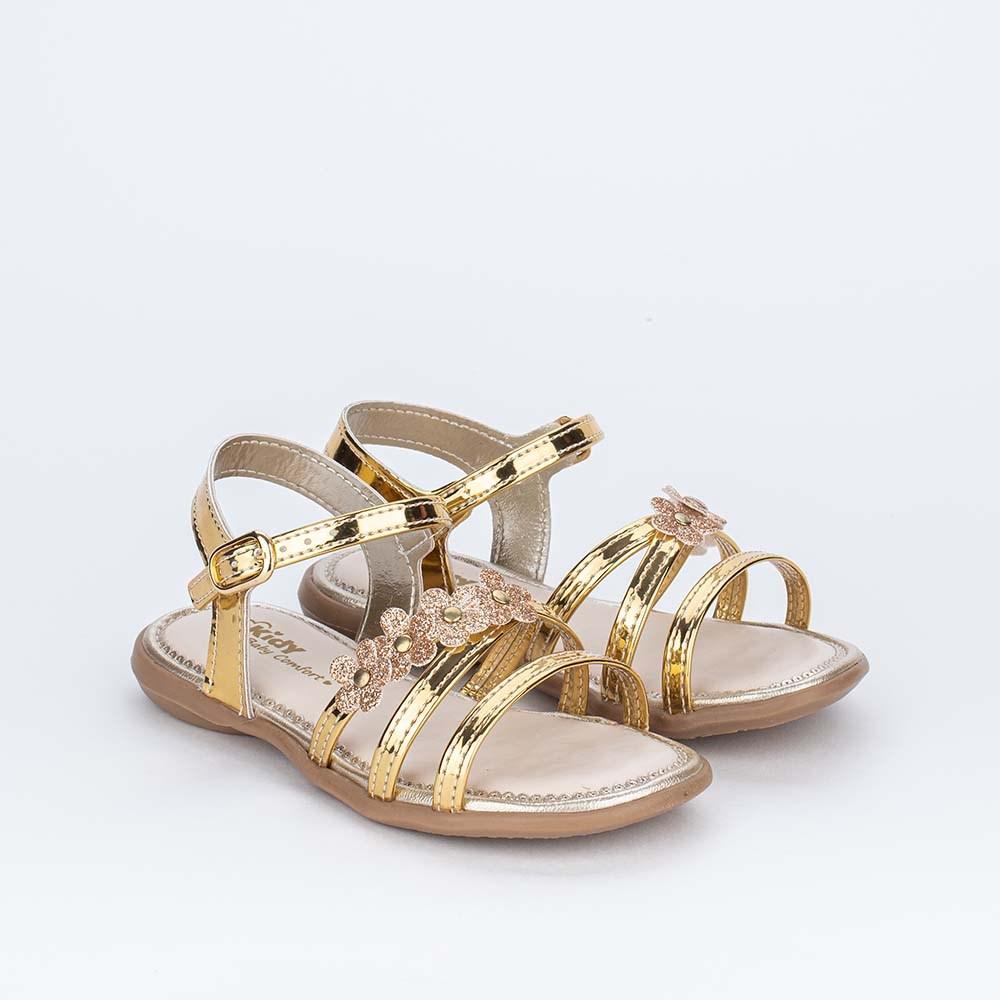 Sandália para Bebê Menina Equilíbrio Ouro Flores de Glitter