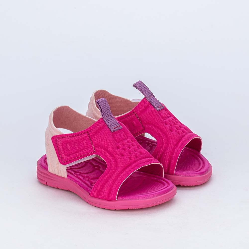 Sandália para Bebê Menina Equilíbrio Pink com detalhe Lilás