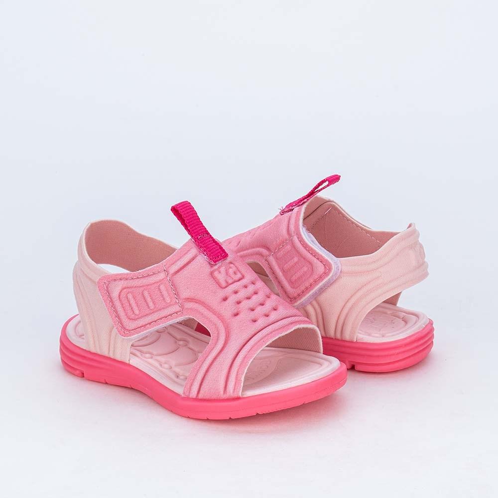 Sandália para Bebê Menina Equilíbrio Rosa com detalhe Pink