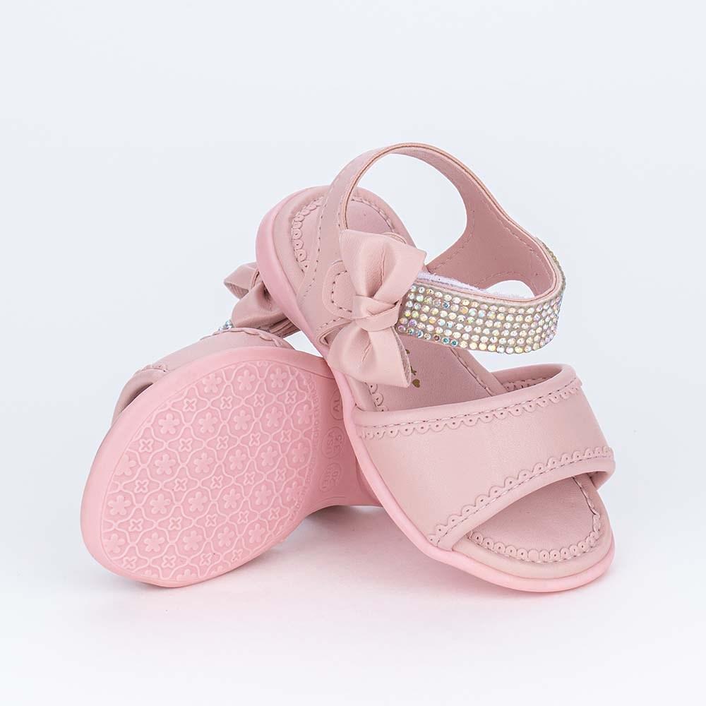 Sandália para Bebê Menina Equilíbrio Rosa Nude Feche de Laço