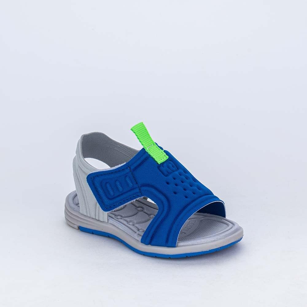 Sandália para Bebê Menino Equilíbrio Azul Royal detalhe Neon