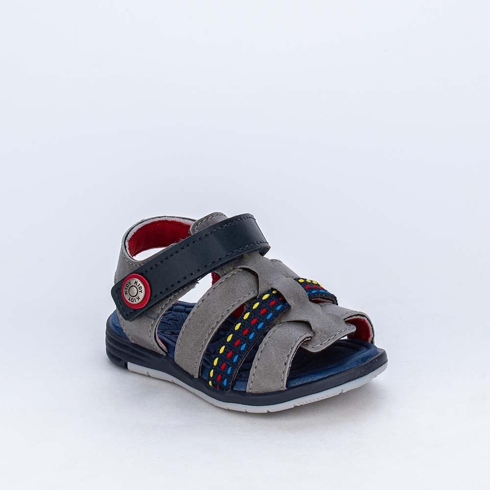 Sandália para Bebê Menino Equilíbrio Cinza com Tira Colorida