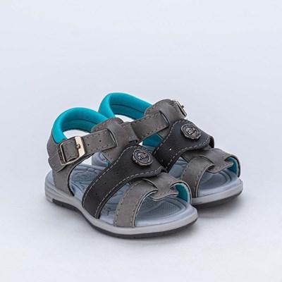 Sandália para Bebê Menino Equilíbrio Cinza e Verde Água