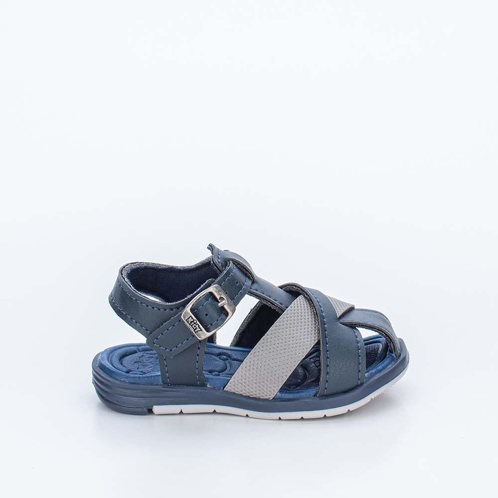 Sandália para Bebê Menino Equilíbrio Marinho e Cinza