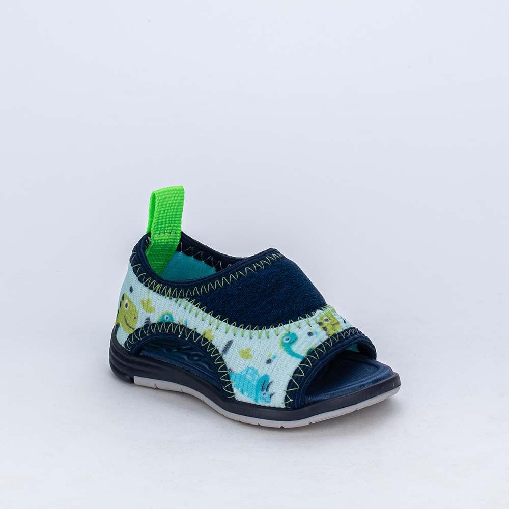Sandália para Bebê Menino Equilíbrio Super Comfy Dino Azul