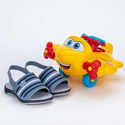 Sandália para Bebê Menino vem com Aviãozinho Azul Stone