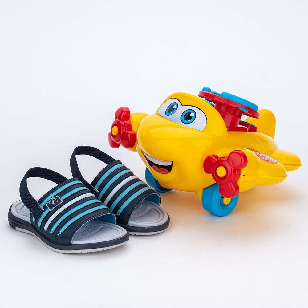 Sandália para Bebê Menino vem com Aviãozinho Marinho e Azul