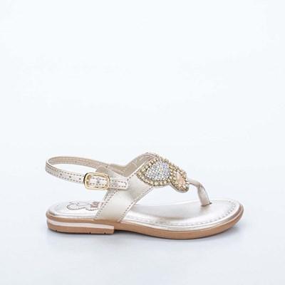 Sandália Primeiros Passos Amar é com Borboleta de Brilho Dourada