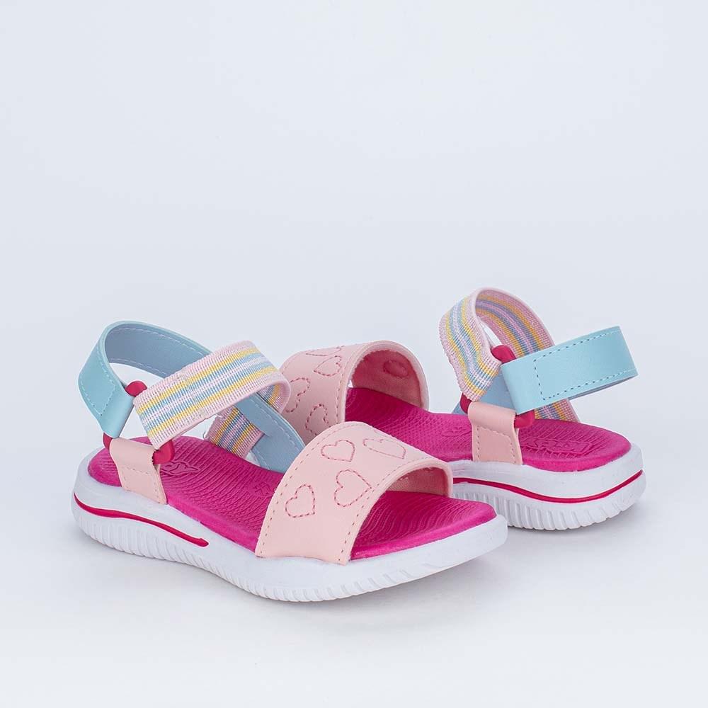 Sandália Ultra Leve Primeiros Passos com Elástico Rosa Azul