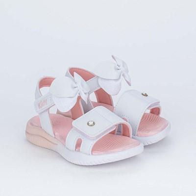 Sandália Ultra Leve Primeiros Passos com Laço Branca e Rosa