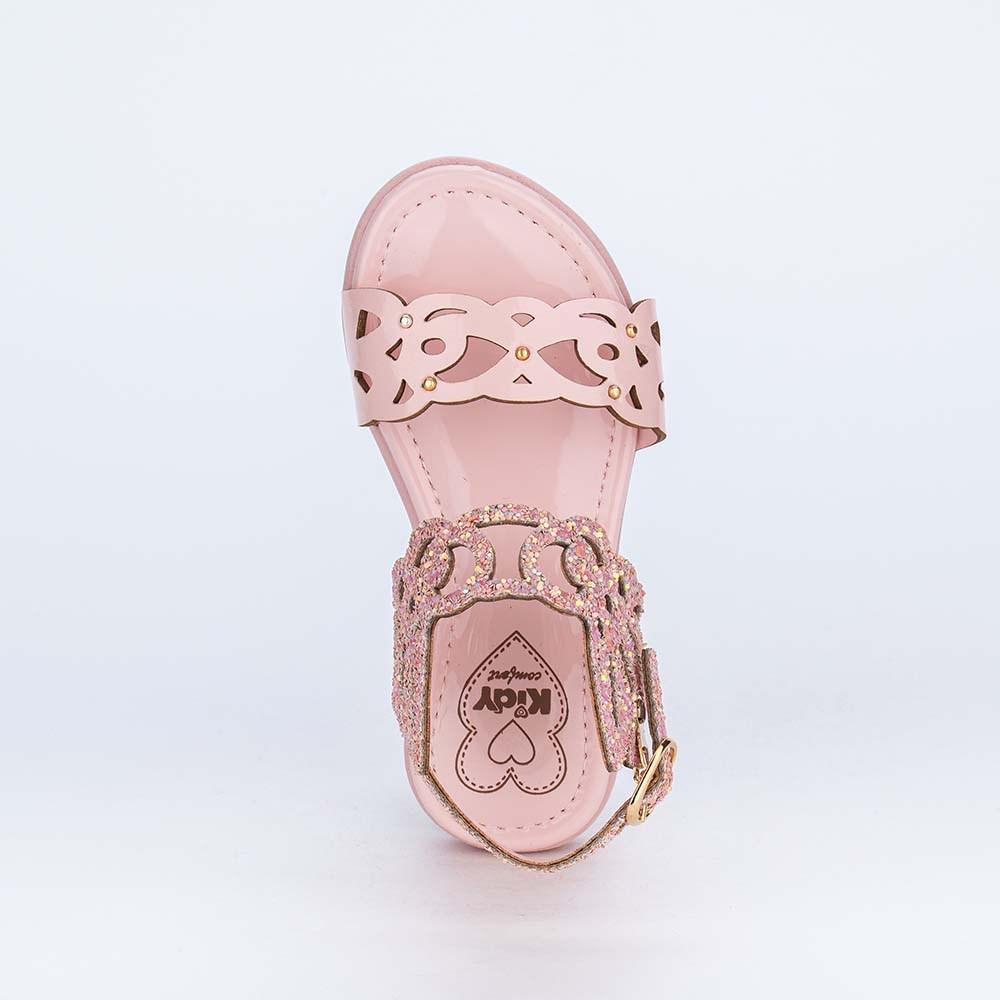 Sandália Valentina Pontes By Kidy com Asas e Glitter Rosa