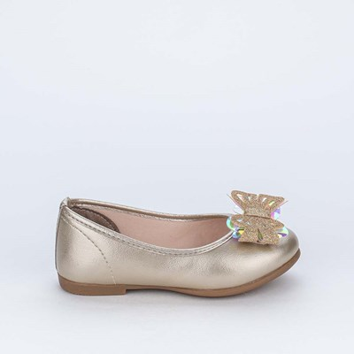 Sapatilha Bailarina com Borboleta Holográfica e Glitter Ouro
