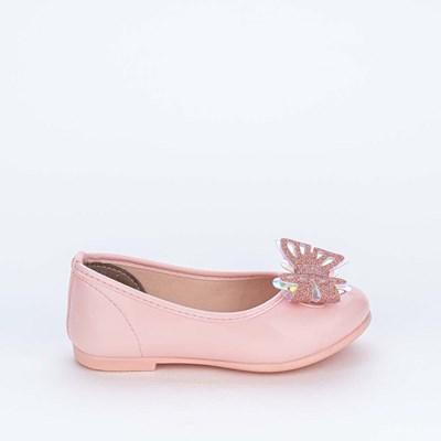 Sapatilha Bailarina com Borboleta Holográfica e Glitter Rosa