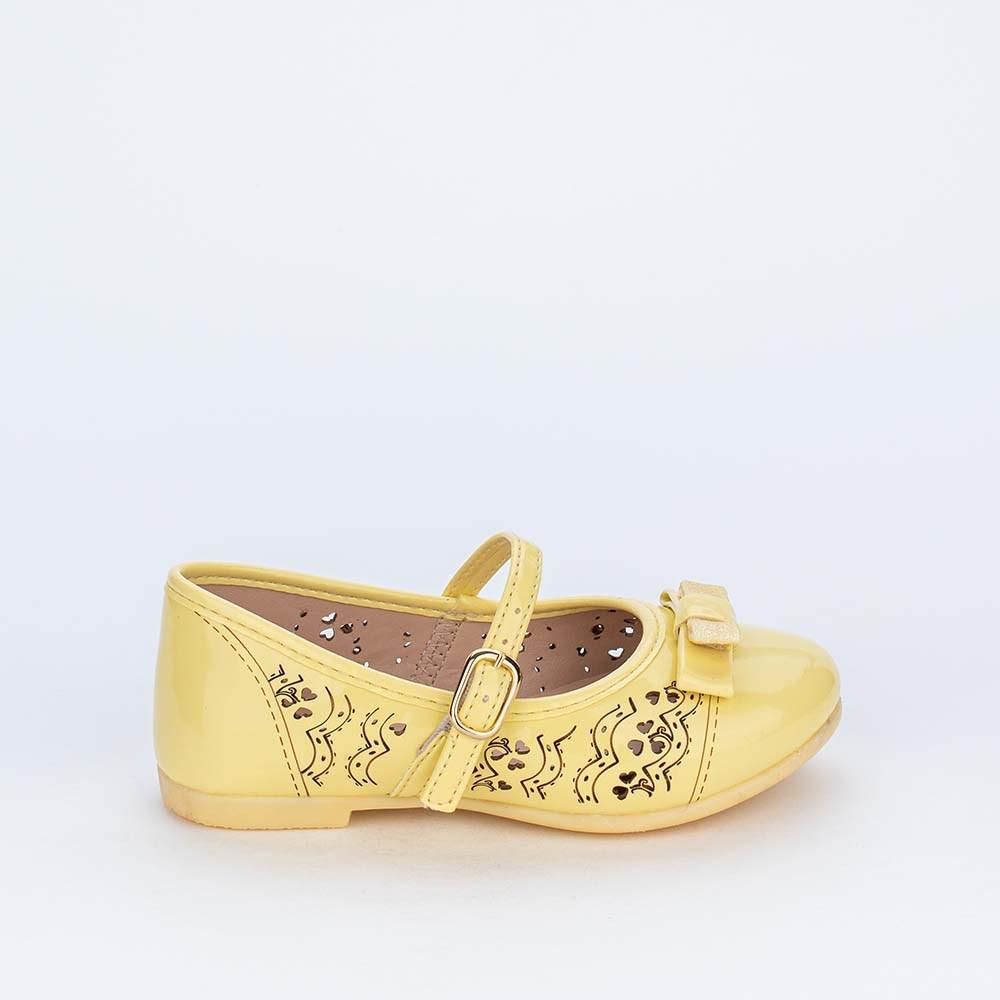 Sapatilha Bailarina com Detalhes Vazados e Lacinho Amarela