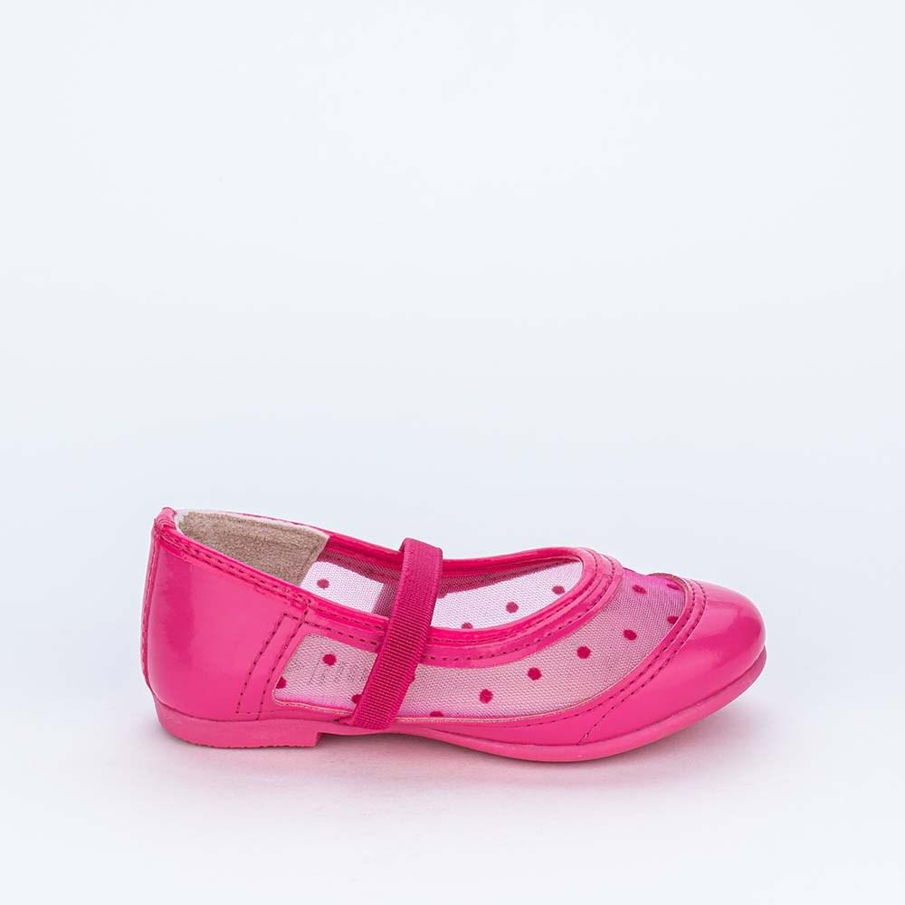 Sapatilha Bailarina de Verniz com Poá Transparente Pink