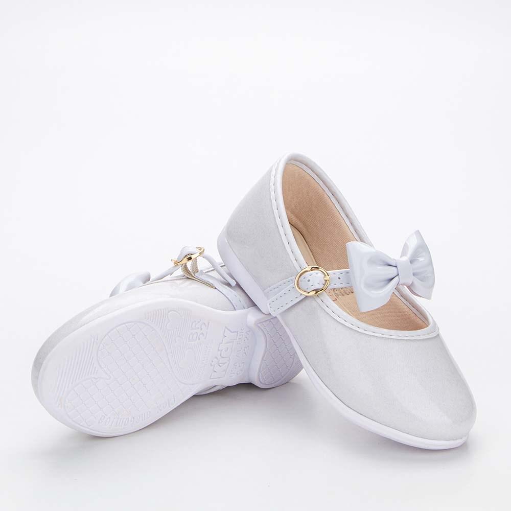Sapatilha Infantil Feminina Bailarina Kidy Baby Branco