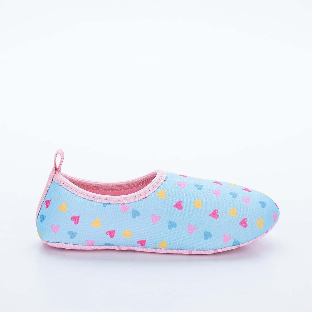 Sapatilha Infantil Feminina Kidy Socks Fun Azul e Rosa