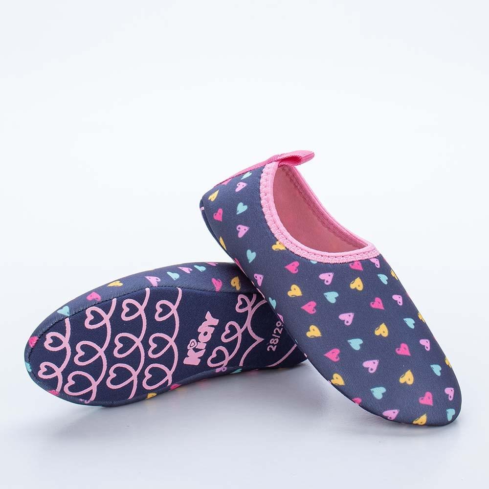 Sapatilha Infantil Feminina Kidy Socks Fun Marinho e Rosa