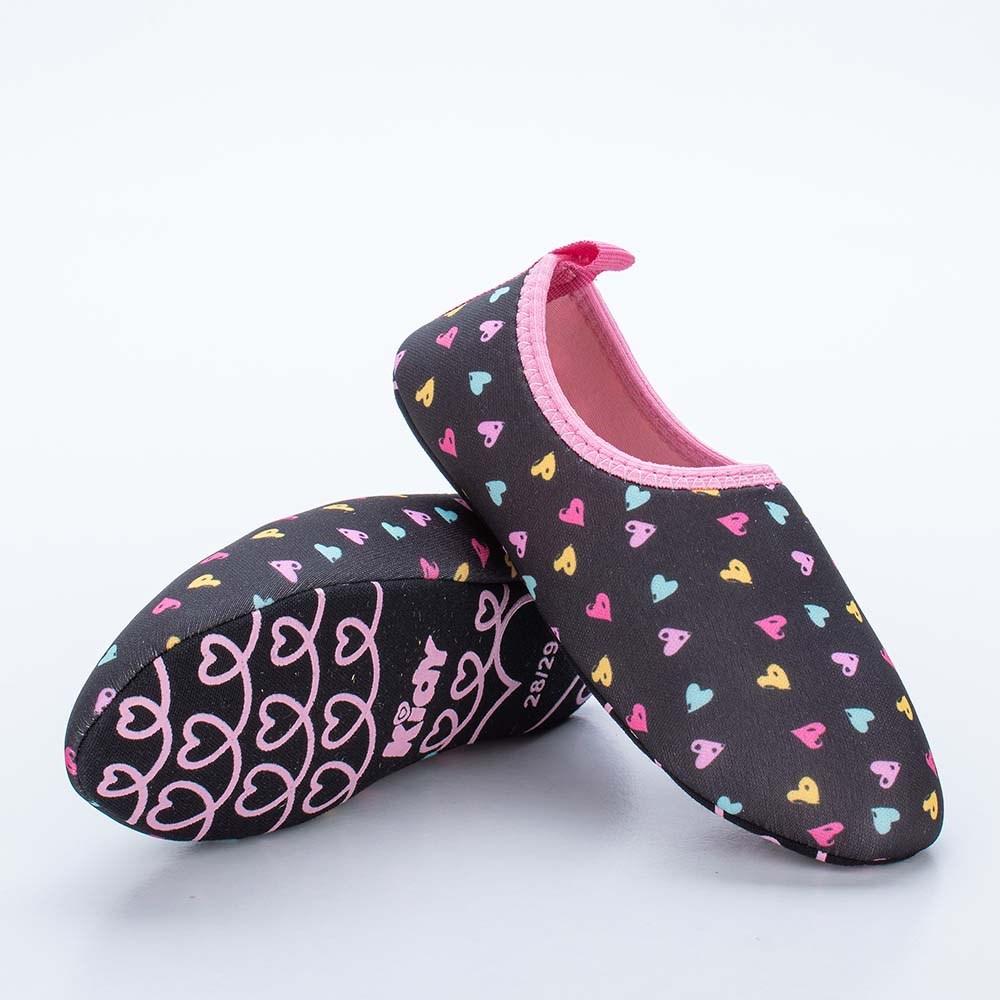 Sapatilha Infantil Feminina Kidy Socks Fun Preto e Rosa