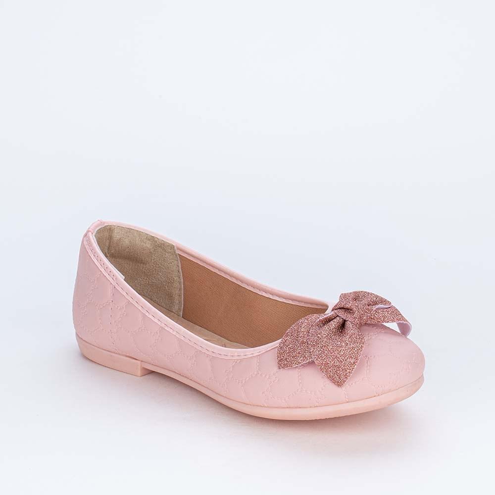 Sapatilha Infantil Feminina Laço de Gltter Fino Rosa Nude