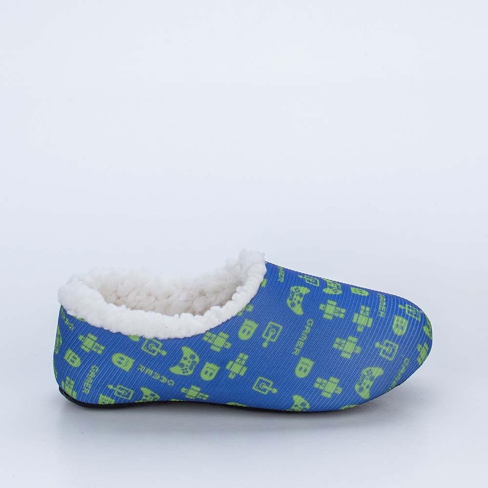 Sapatilha Meia Infantil Kidy Socks Azul e Verde Gamer