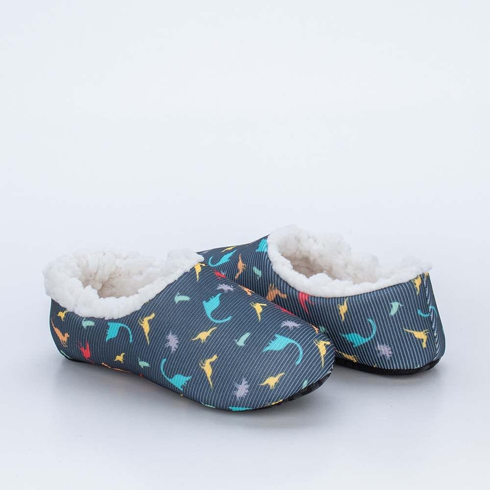 Sapatilha Meia Infantil Kidy Socks Azul Petróleo Dino