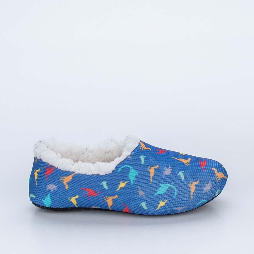 Sapatilha Meia Infantil Kidy Socks Azul Royal Dino