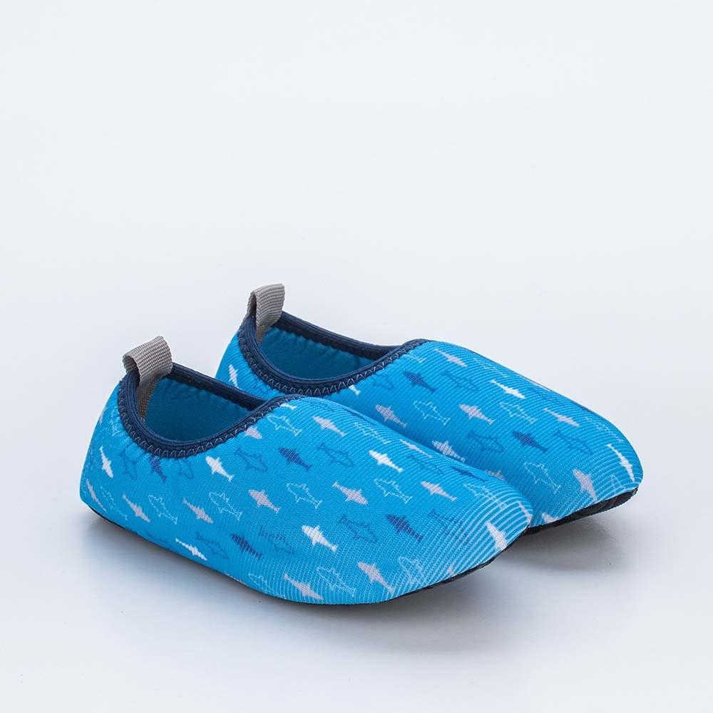 Sapatilha Meia Infantil Kidy Socks Azul Tubarão